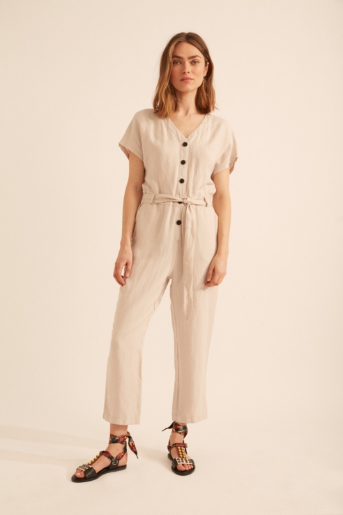 long, loose-fitting jumpsuit