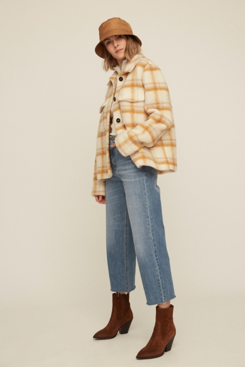checkered fleece trucker jacket