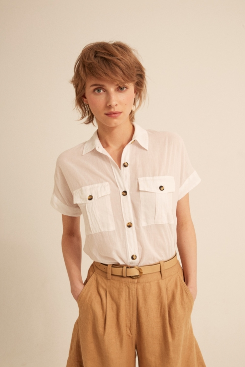 white safari shirt