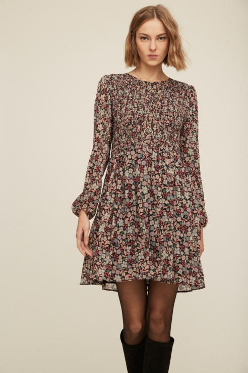 floral print dress with elastic