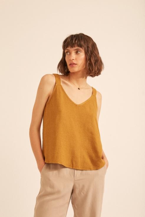 camel linen top