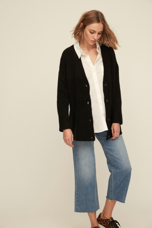 black maxi cardigan with buttons