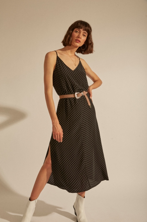 robe longue imprimé imprimé pois