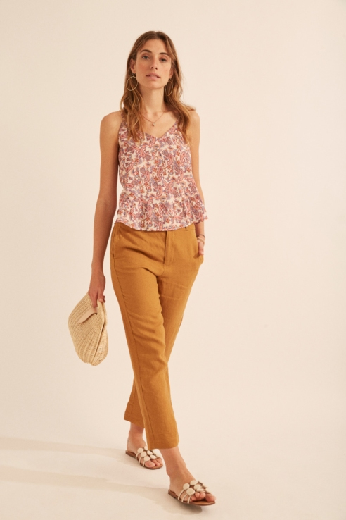 gold camel linen trousers