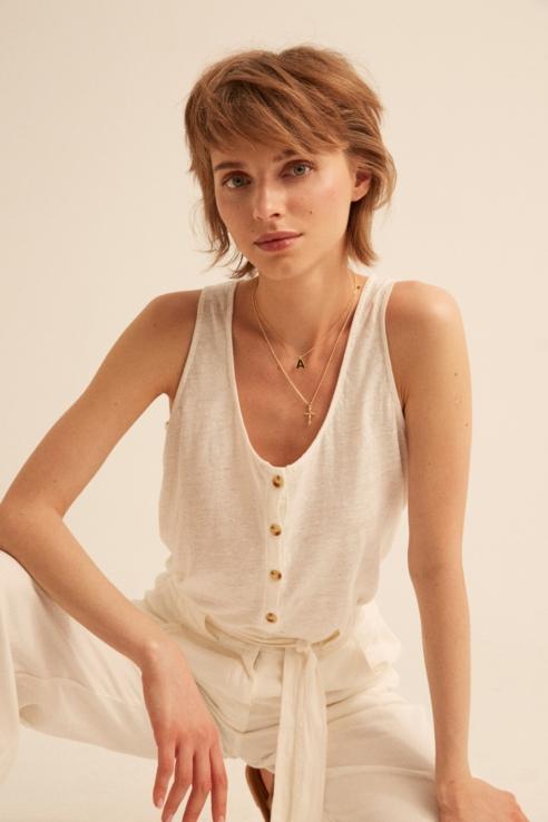 camiseta tirantes lino blanco