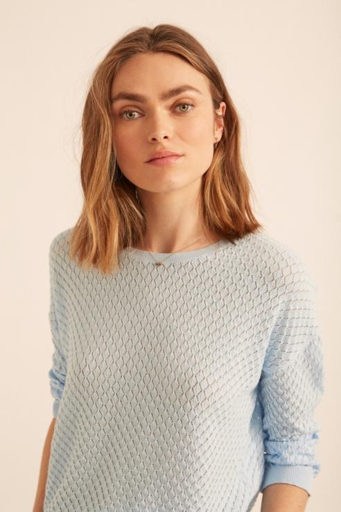 sky blue pointelle sweater