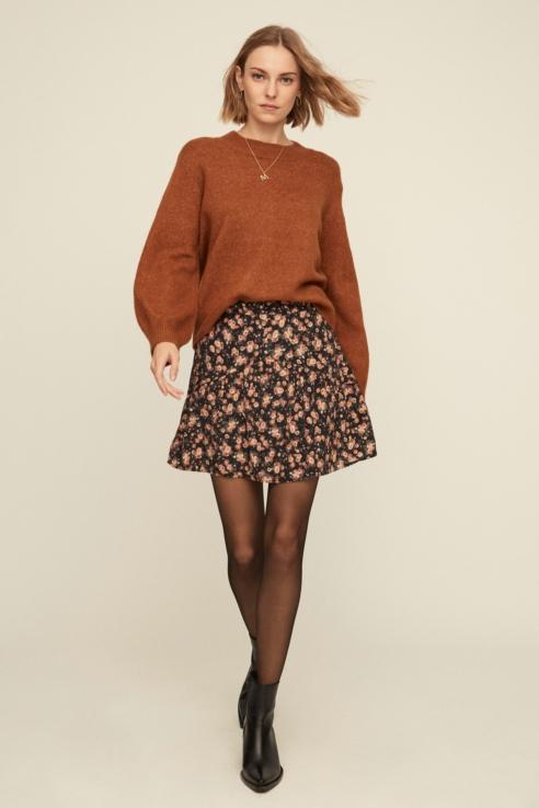 jupe courte à imprimé floral