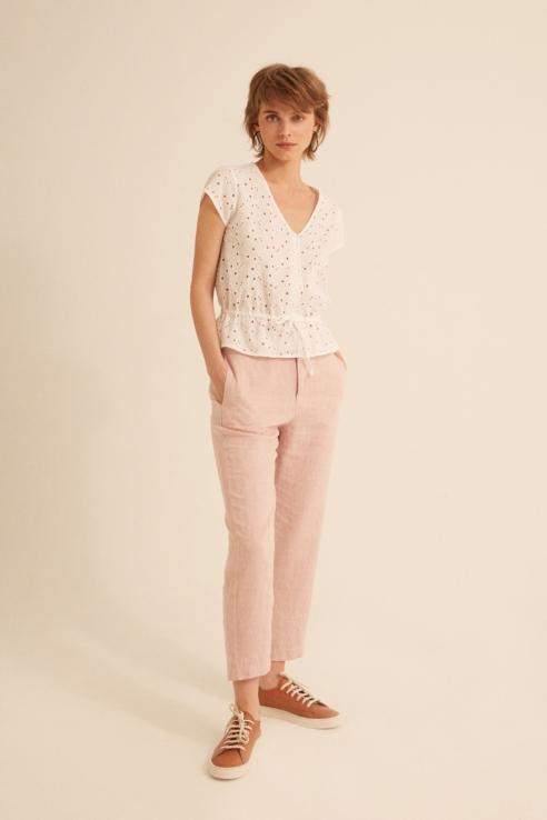 light pink linen trousers