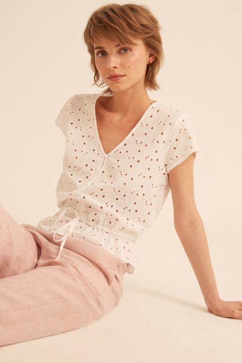 white cutwork blouse