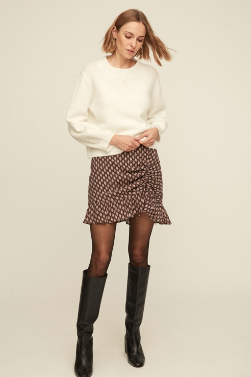 falda estampado étnico detalle frunce