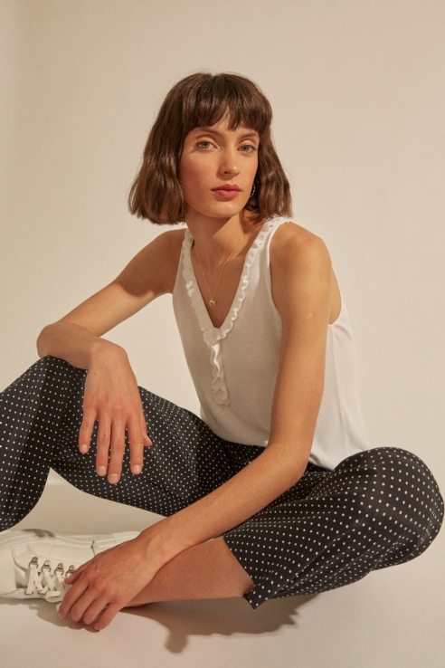 polka dots flowy trousers