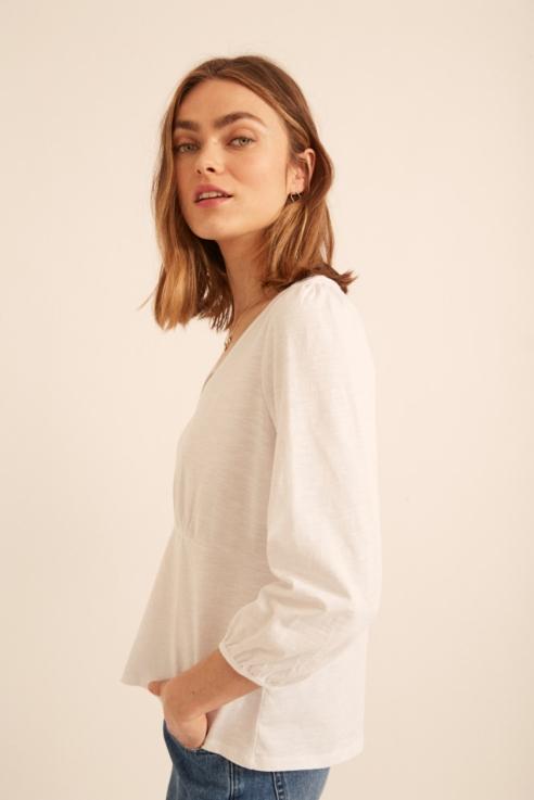 camiseta escote pico fruncidos