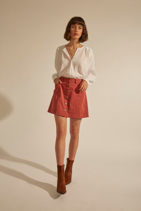 mini falda denim coral