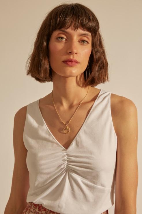draped neckline white top