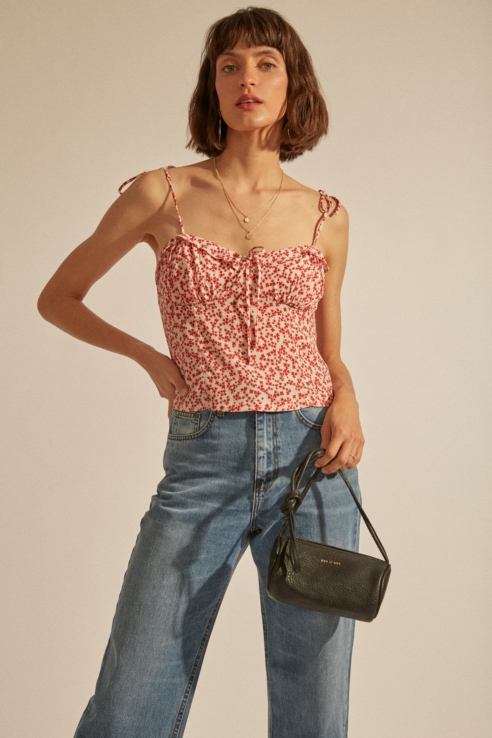crop top à imprimé floral