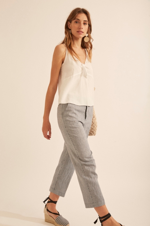 navy stripes trousers