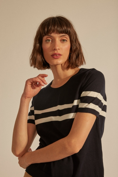 pull maille double tip sur manches