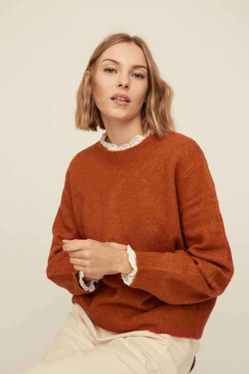 puffed sleeve brick sweater
