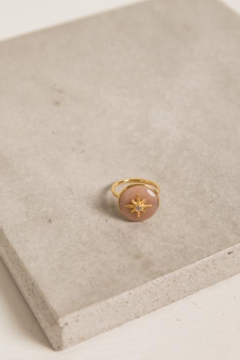 anillo circonia piedra rosa