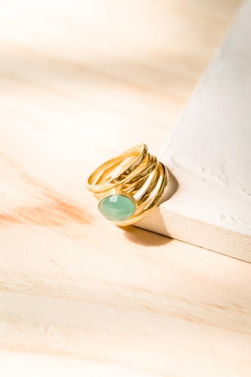 anillo calcedonia azul