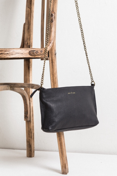 black leather rectangular crossbody bag
