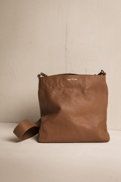 bolso saco piel camel
