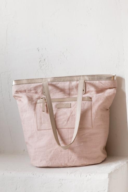 bolso grande lino rosa