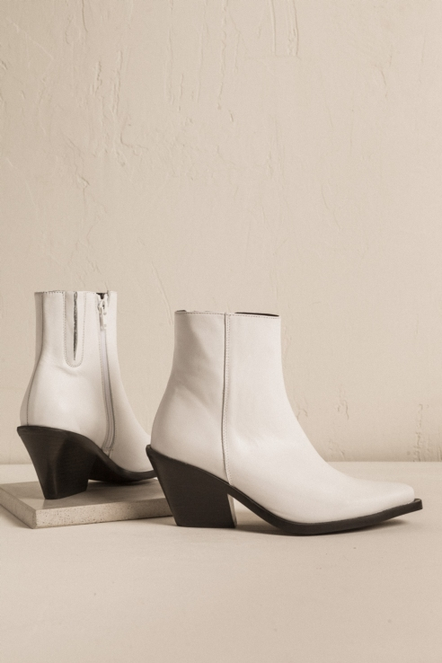 white leather cowboy ankle boots