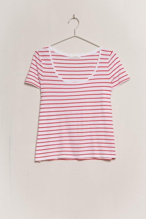 t-shirt rayure blanc rouge