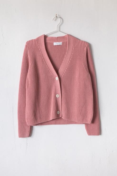 cárdigan corto rosa