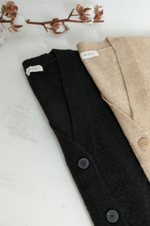 black cardigan with buttons