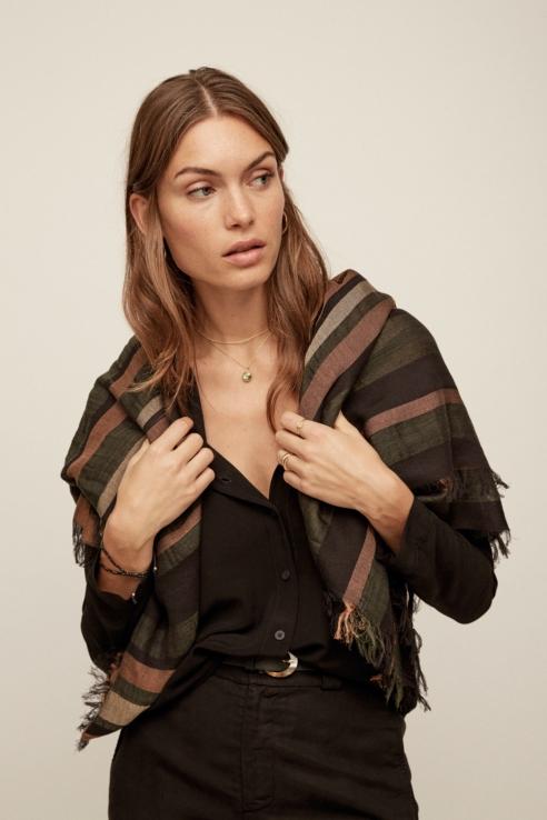 black striped scarf