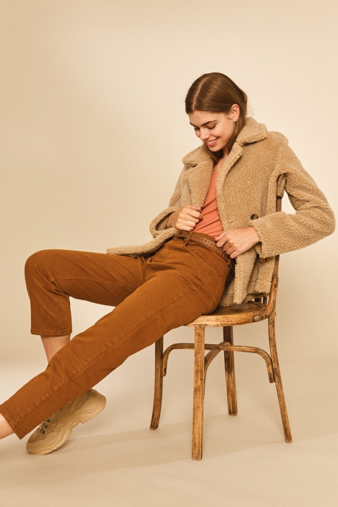 curly camel jacket