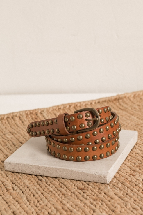 brown leather belt studs