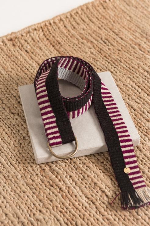 cinturón textil burdeos negro