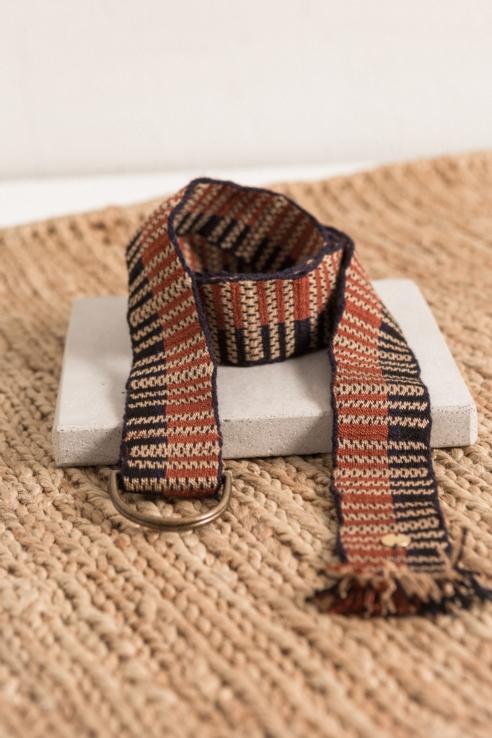 cinturón textil marino ecru