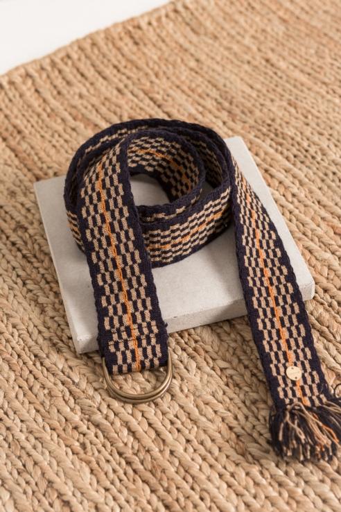 cinturón textil marino naranja
