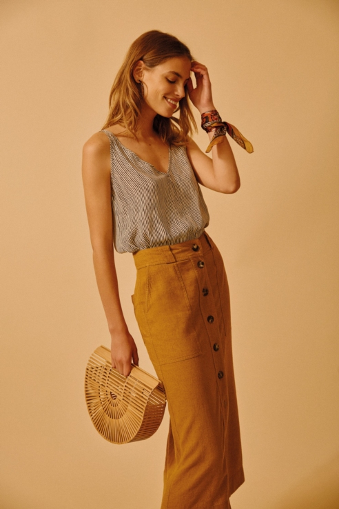 camel midi skirt with buttons
