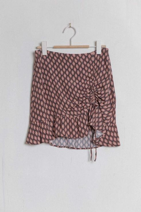ethnic print mini skirt