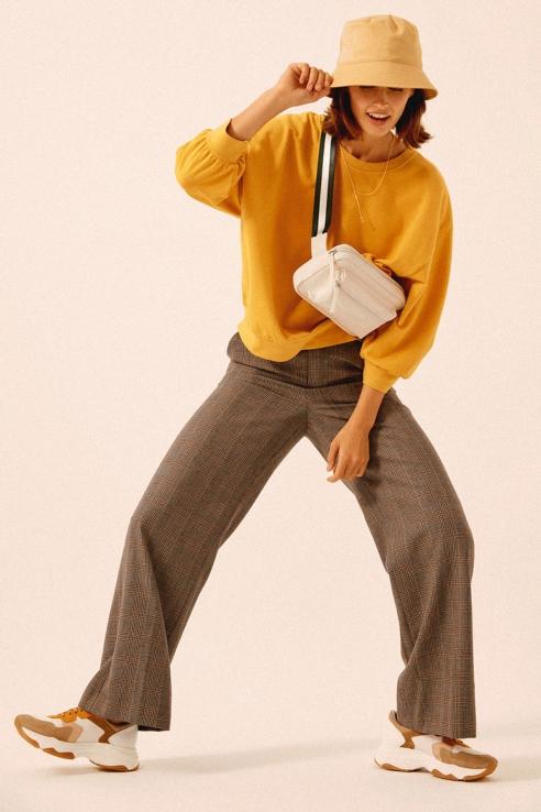 mustard puff sweatshirt