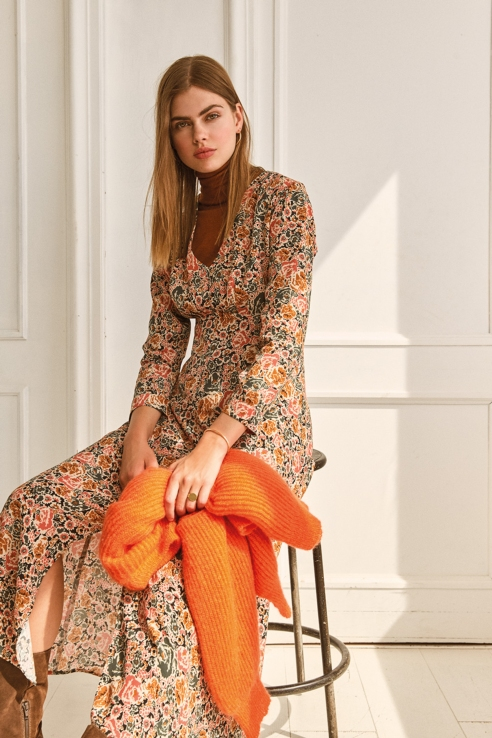 cretonne floral print long dress
