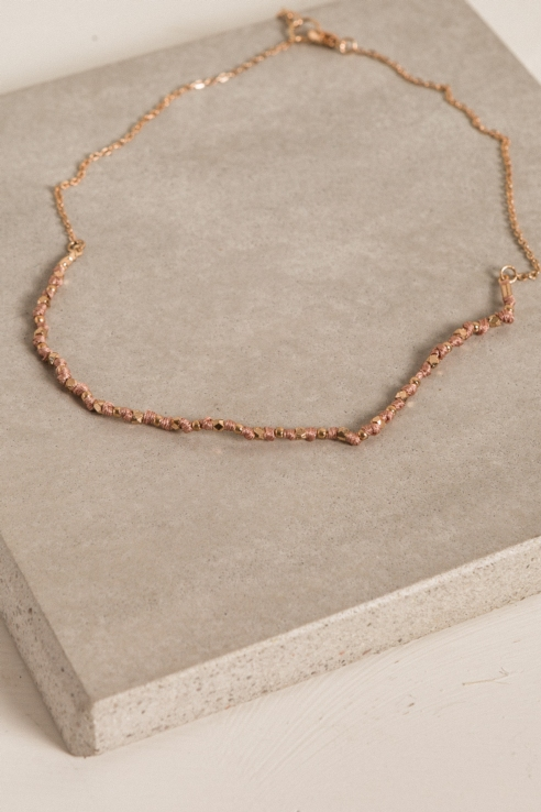 combined rose gold short necklace