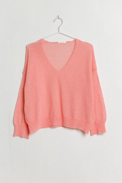 v-neck rose sweater
