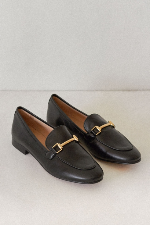 loafers gold buckle