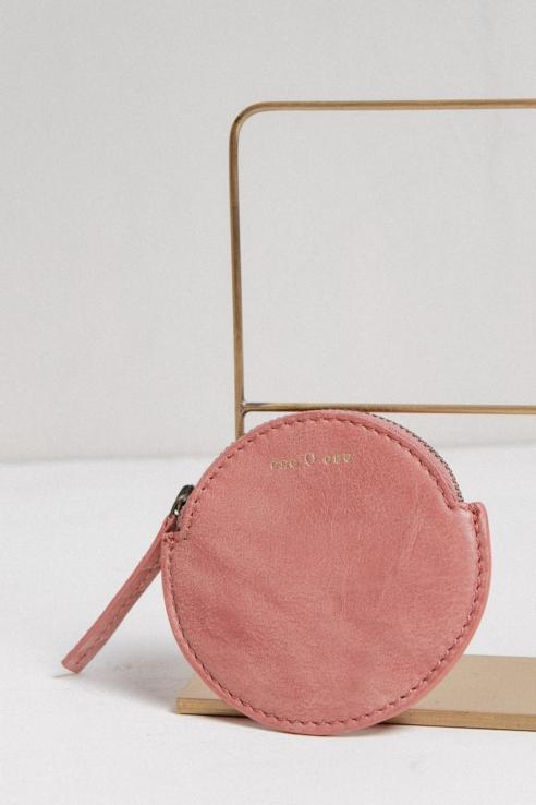 round leather purse