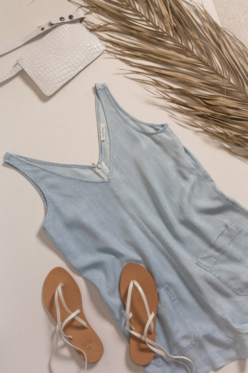 short jumpsuit denim effect
