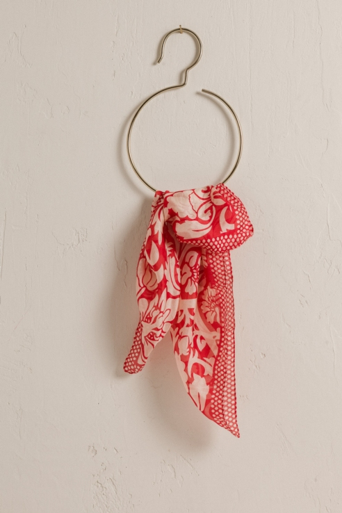 printed red silk scarf