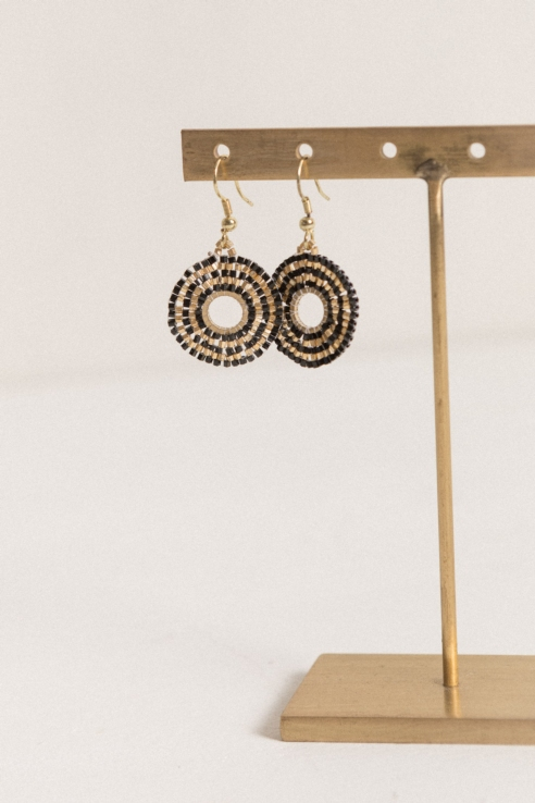 disco black gold earrings