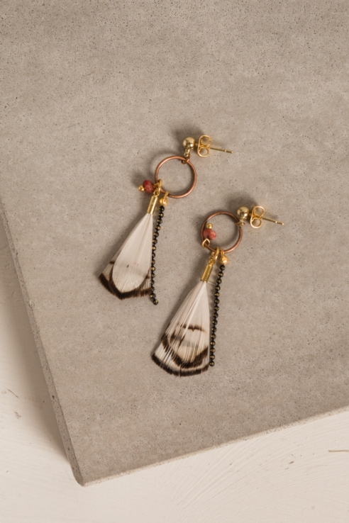 boucles d'oreille assorties plume