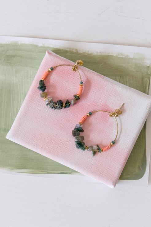 pendientes abalorios multicolor